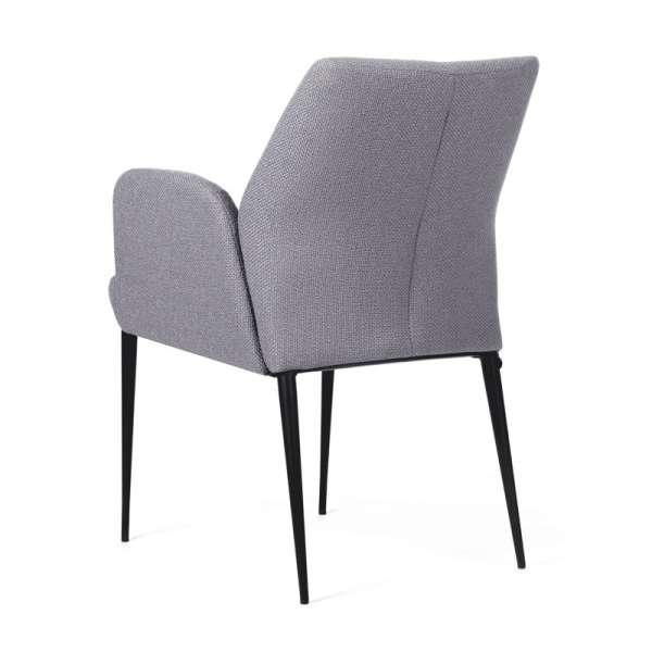 Fauteuil confortable en tissu gris et pieds en métal noir - Enora Mobitec - 2