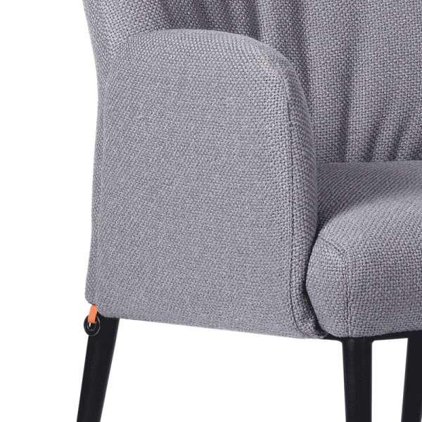 Chaise avec accoudoirs en tissu gris et pieds en métal noir - Enora Mobitec - 5
