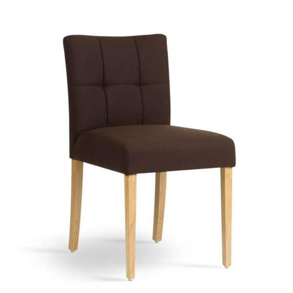 Chaise rembourrée marron en bois naturel et tissu - Carré Mobitec® - 1