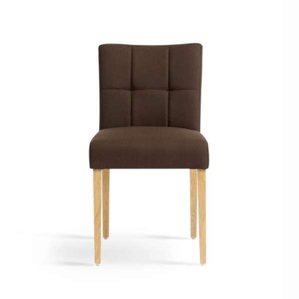 Chaise confortable en bois naturel et tissu marron - Carré Mobitec® - 2