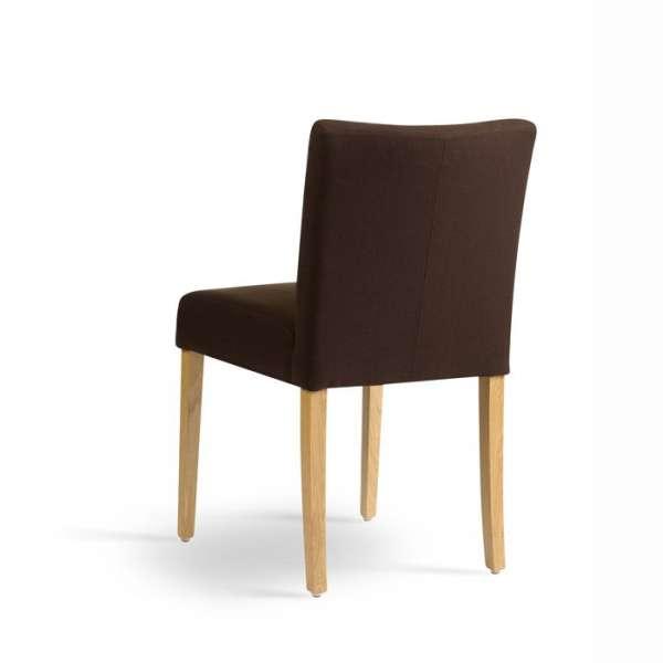 Chaise rembourrée en chêne massif et tissu marron - Carré Mobitec® - 4