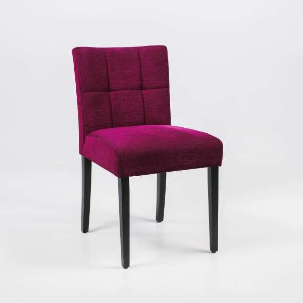Chaise en tissu rose et pieds en bois noir- Carré Mobitec® - 6