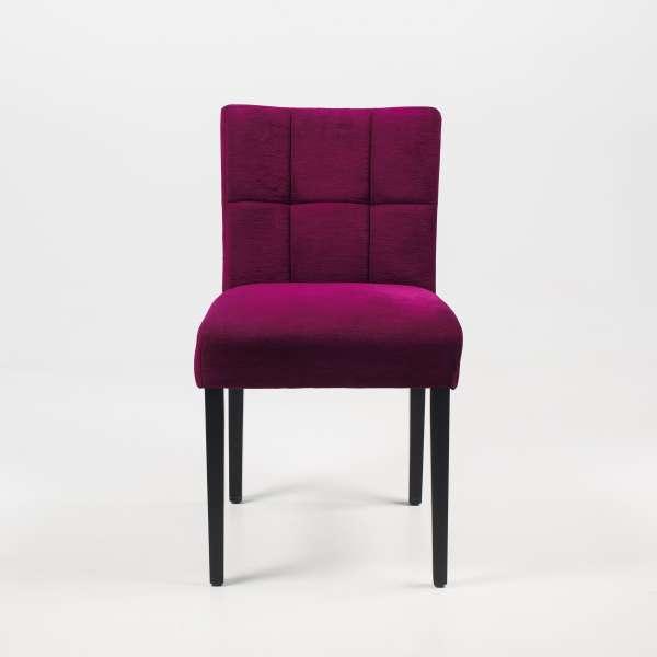 Chaise de salle à manger en tissu rose et hêtre massif noir - Carré Mobitec® - 7