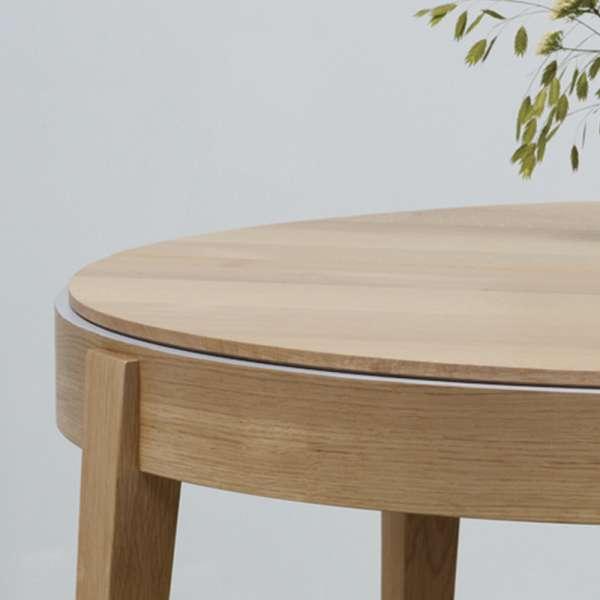 Table ronde en bois massif française avec allonges et liseré coloré - Liseré 355 - 2