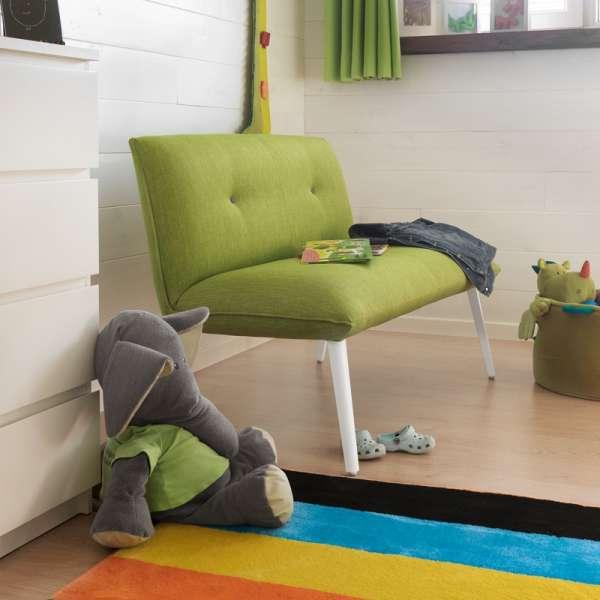 Banquette en tissu vert et pieds en bois naturel - Soda Duo Mobitec - 3