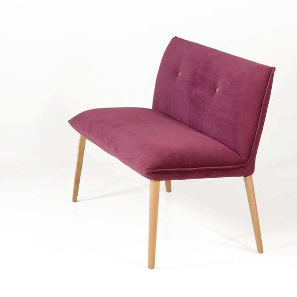 Banquette en tissu violet et pieds en bois naturel - Soda Duo Mobitec - 5