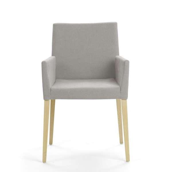 Chaise avec accoudoirs en bois naturel et tissu gris - Slim Mobitec® - 2