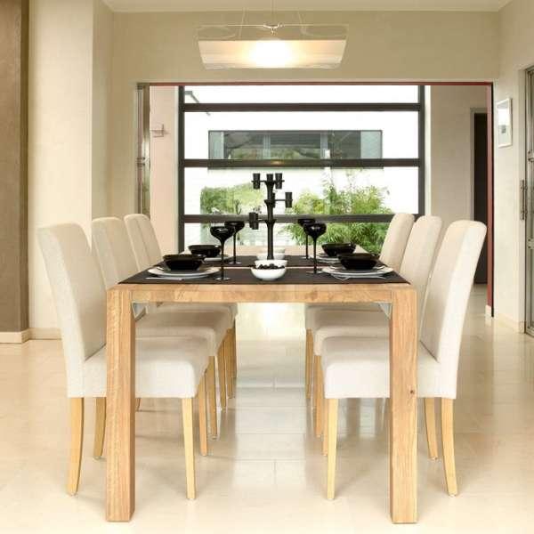 Chaise confortable en synthétique blanc et bois naturel massif marron - Tom Mobitec - 1