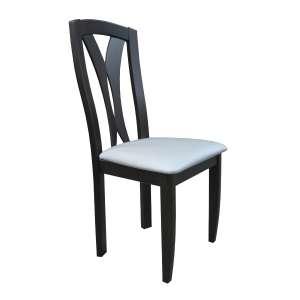 Chaise française en bois massif noir et synthétique blanc - Morgan
