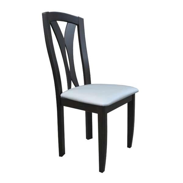 Chaise française en bois massif noir et synthétique blanc - Morgan - 1