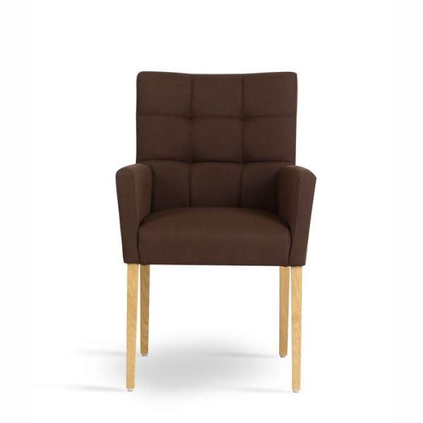 Fauteuil en tissu marron et pieds en bois marron clair - Carré Mobitec® - 2