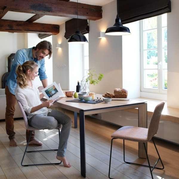 Table rectangulaire extensible en bois massif et métal - Oxford Mobitec® - 11