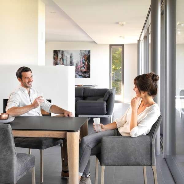 Table de salle à manger avec allonge en stratifié Fénix et bois massif - Oxford Mobitec® - 8