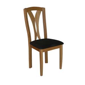 Chaise française en bois massif et tissu noir - Morgan