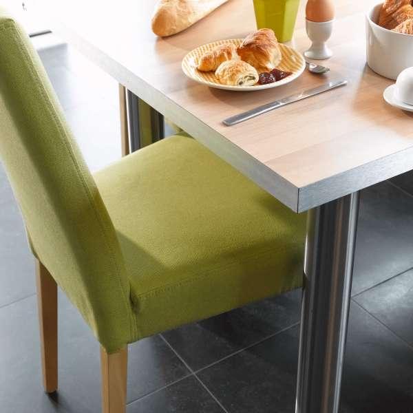 Chaise de salle à manger en tissu vert et pieds en bois clair  - Sammy Mobitec - 6