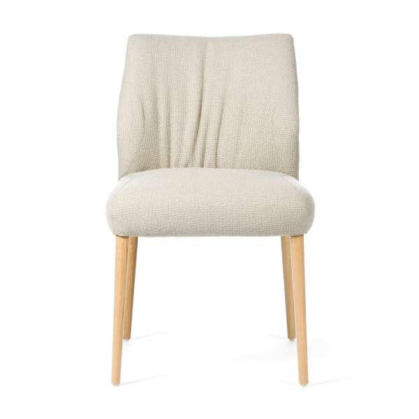 Chaise cocooning en tissu blanc cassé pieds en bois naturel - Enora Mobitec® - 2