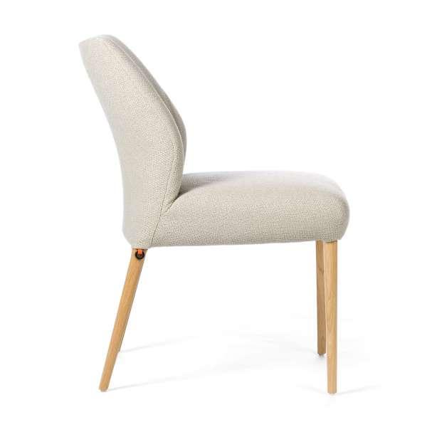 Chaise mobitec en tissu beige pieds en bois naturel - Enora - 3