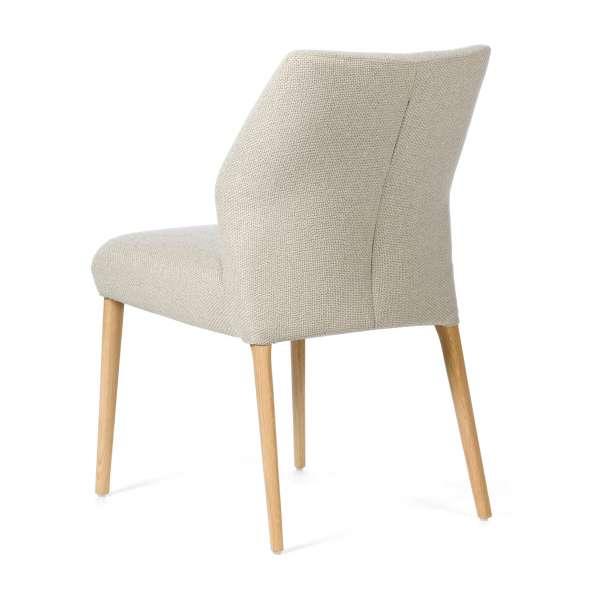 Chaise pieds en bois assise en tissu beige - Enora Mobitec® - 4