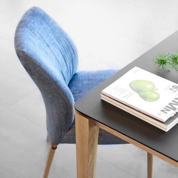 Chaise en tissu bleu pieds en bois clair - Enora Mobitec® - 6