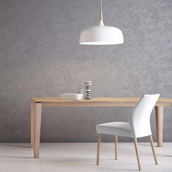 Chaise scandinave en tissu blanc pieds en hêtre massif - Enora Mobitec® - 10