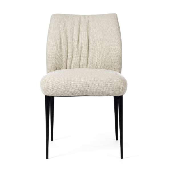 Chaise en tissu blanc pieds en métal noir - Enora 47 Mobitec® - 2