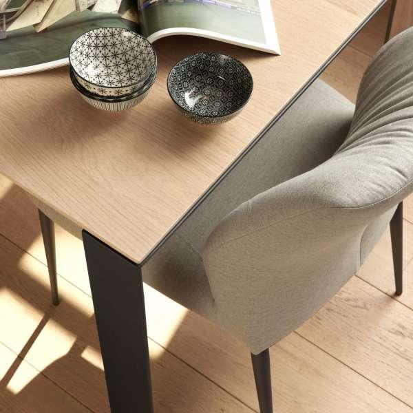 Chaise en tissu gris pieds en métal noir - Enora 47 Mobitec® - 5