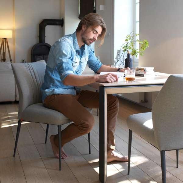Chaise de bureau en tissu gris pieds en métal noir - Enora 47 Mobitec® - 6