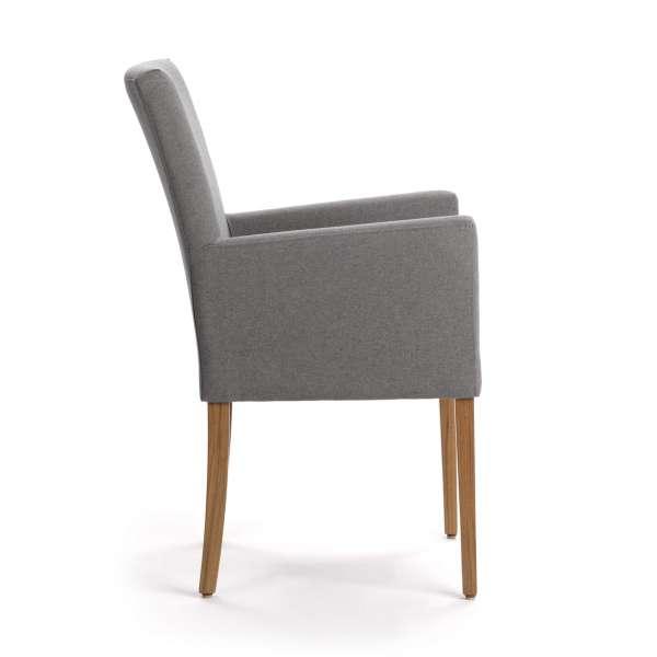chaise avec accoudoirs confortable grise et pieds en bois - Vigo Mobitec - 7