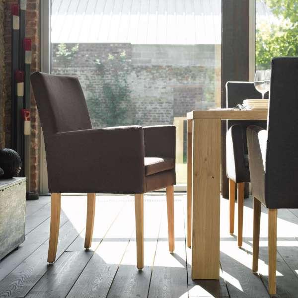Fauteuil de salon noir en tissu et pieds en bois massif - Vigo Mobitec - 11