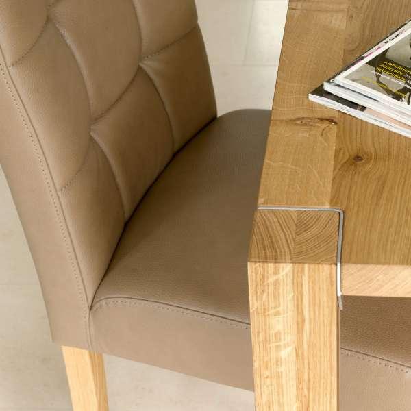 Chaise beige en synthétique et pieds en bois - Carré Mobitec® - 2