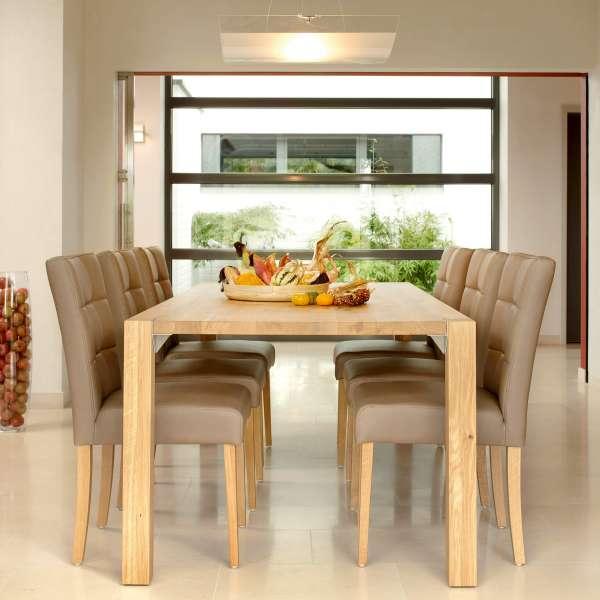 Chaise de salle à manger en vinyle marron et pieds en bois marron clair - Carré Mobitec® - 1