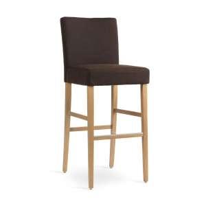Tabouret de bar en bois marron clair et tissu marron - Shawn Mobitec®