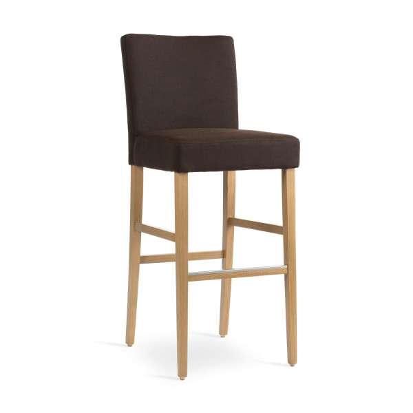 Tabouret de bar en bois marron clair et tissu marron - Shawn Mobitec® - 1