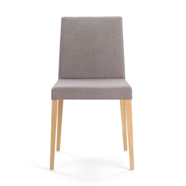 Chaise de salle à manger en hêtre massif et tissu gris - Slim Mobitec - 2