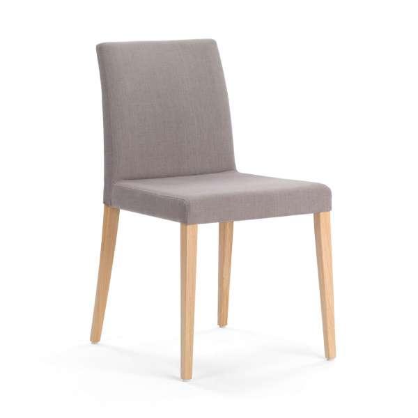 Chaise confortable grise en bois naturel et tissu - Slim Mobitec - 1