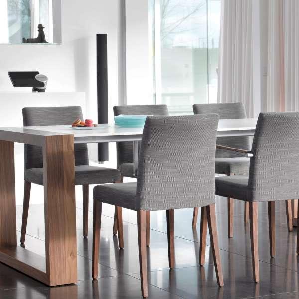Chaise de salle à manger confortable grise avec pieds en bois  - Slim Mobitec - 5