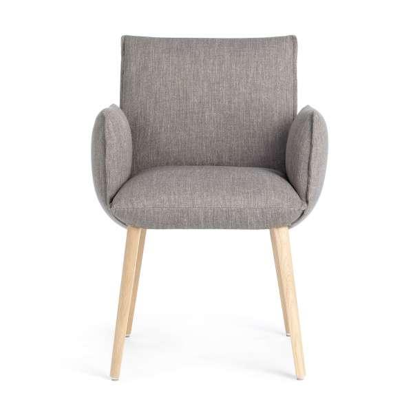Fauteuil cocooning en tissu gris avec pieds en bois marron clair - Soft Mobitec® - 2