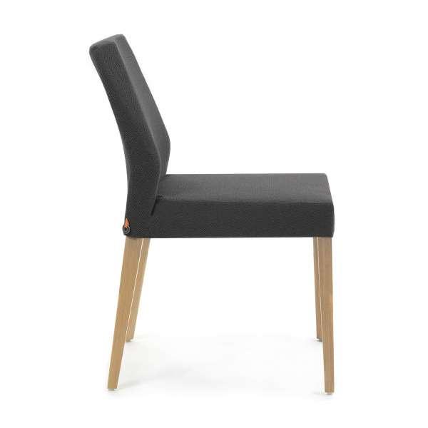 Chaise noire en tissu et chêne massif - Kenzie Mobitec - 3