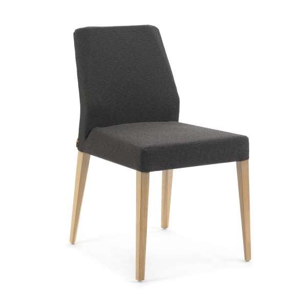 Chaise contemporaine en bois clair et tissu noir - Kenzie Mobitec - 1