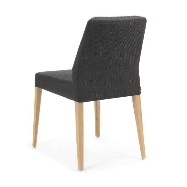 Chaise intemporelle en bois et tissu noir - Kenzie Mobitec - 4