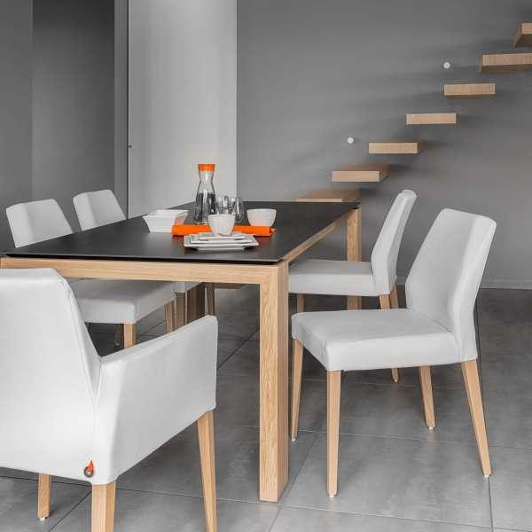 Fauteuil Mobitec® en synthétique blanc et pieds en bois massif - Kenzie - 2