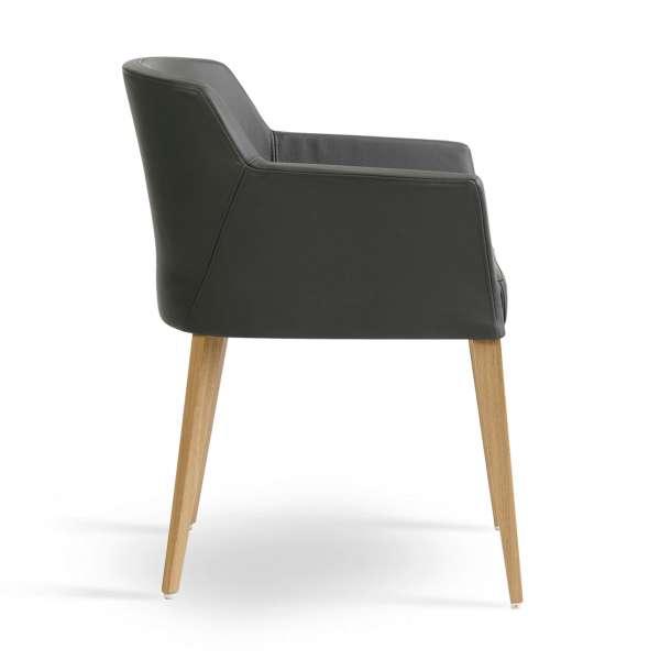 Fauteuil de salle à manger  en synthétique gris avec pieds bois - Colibri Mobitec®  - 3