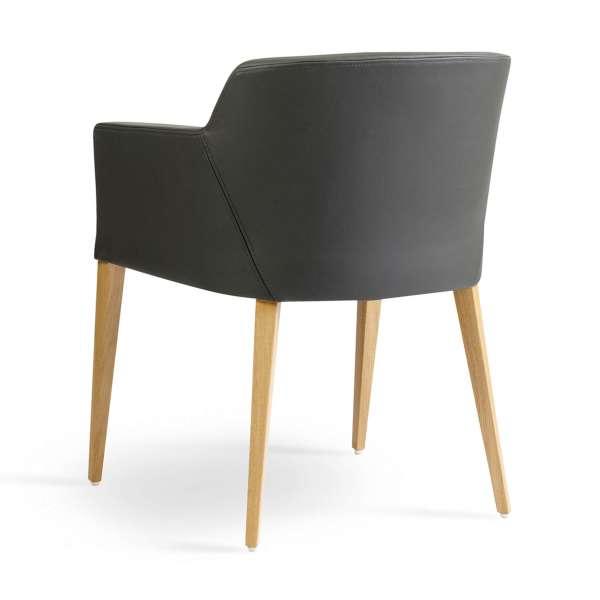 Fauteuil Mobitec® en vinyle gris avec pieds bois - Colibri - 4