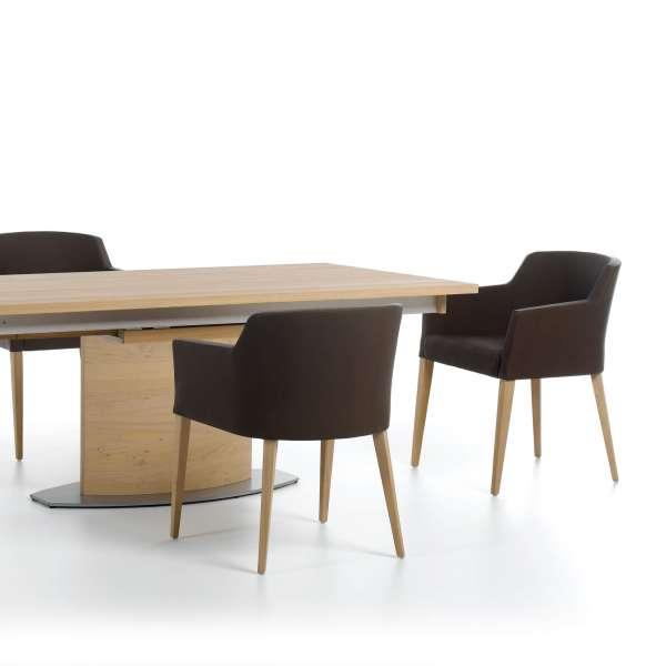 Fauteuil marron en synthétique avec pieds bois massif - Colibri Mobitec® - 5
