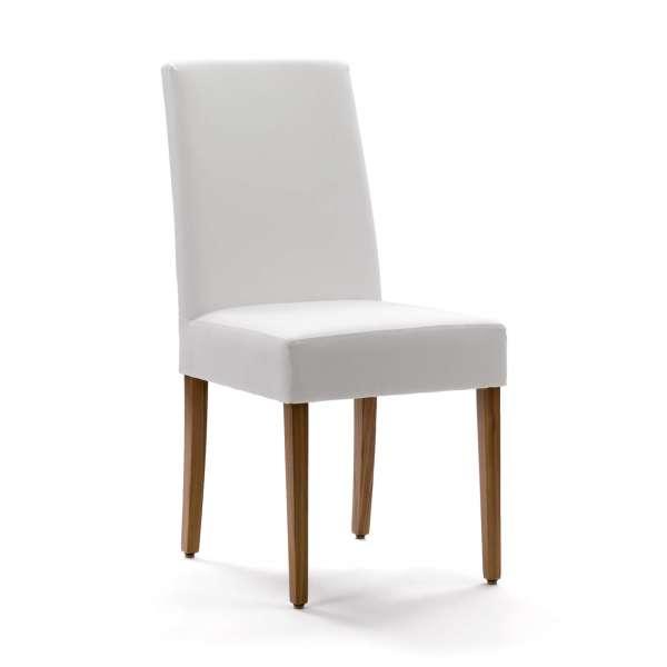 Chaise blanche de salle à manger Mobitec® en synthétique et pieds en bois marron - Vigo - 1