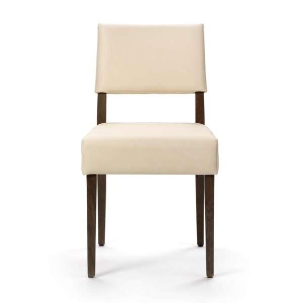 Chaise avec pieds en bois foncé et vinyle beige - Brindisi Mobitec® - 2