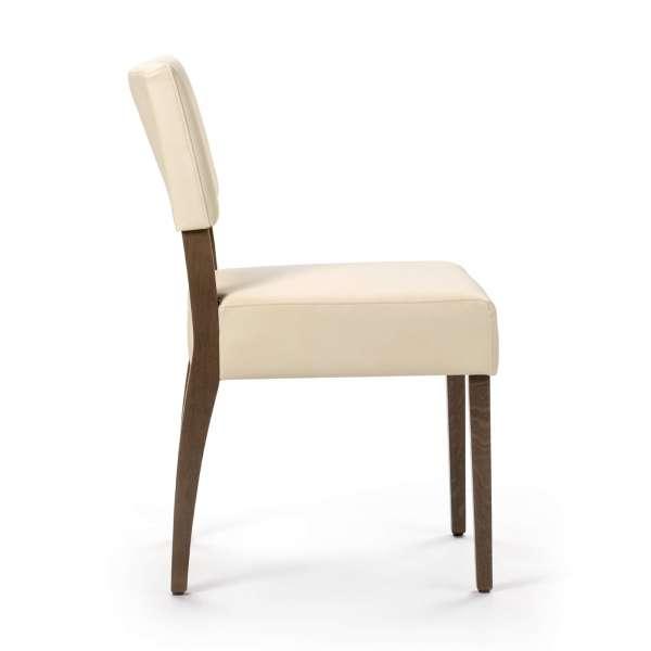 Chaise en synthétique beige et pieds en bois marron foncé - Brindisi Mobitec® - 3