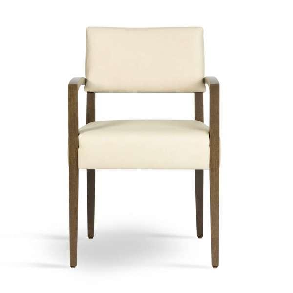 Fauteuil confortable en bois massif et synthétique beige - Brindisi Mobitec® - 2