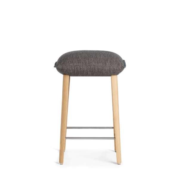 Tabouret sans dossier pour table 90cm de haut en tissu et pieds bois - Soda Mobitec® - 2
