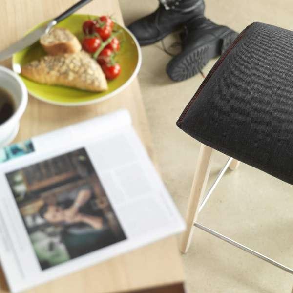 Tabouret snack en tissu noir et pieds bois massif - Soda Mobitec® - 3